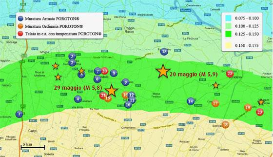 Edifici in laterizio POROTON sottoposti a verifica dopo il sisma del 2012 in Emilia